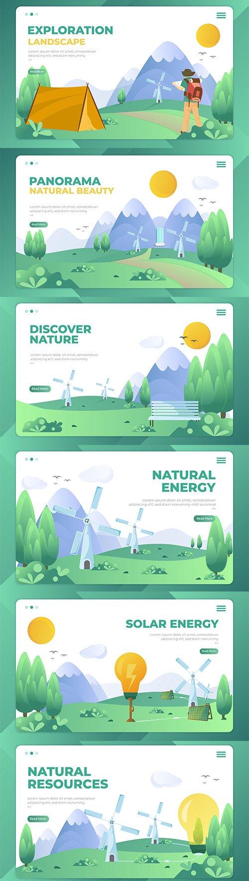 Natural Resources Landing Page Templates Set