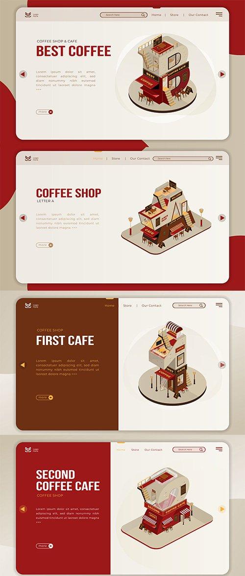 Coffee Shop Building Landing Page Set