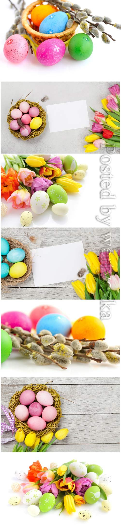 Happy Easter stock photo, Easter eggs, spring flowers # 8