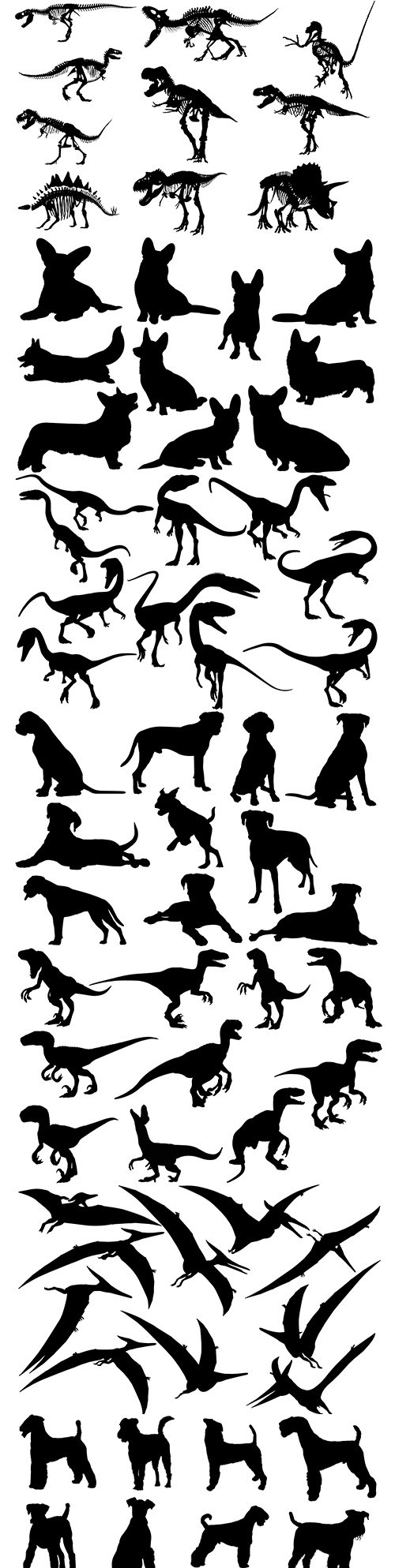 Dinosaur and dogs collection black silhouettes
