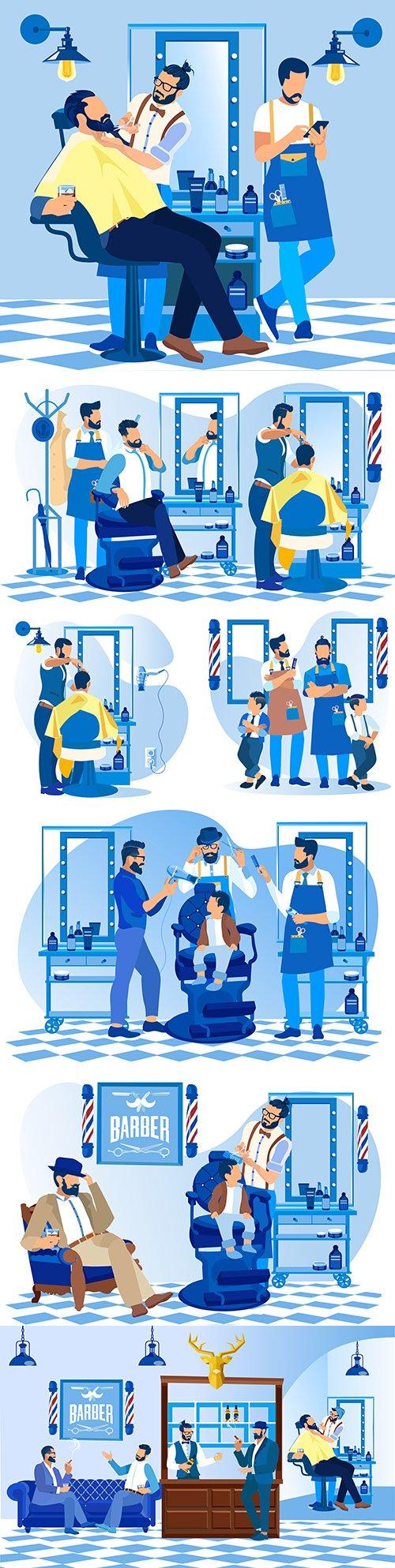 Professional customer haircut at hairdresser fashion salon