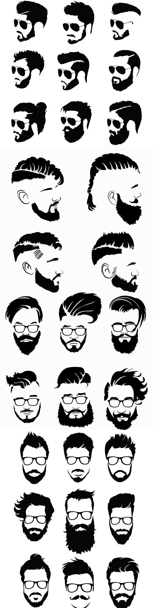 Collection black hairstyle silhouettes and beards for men