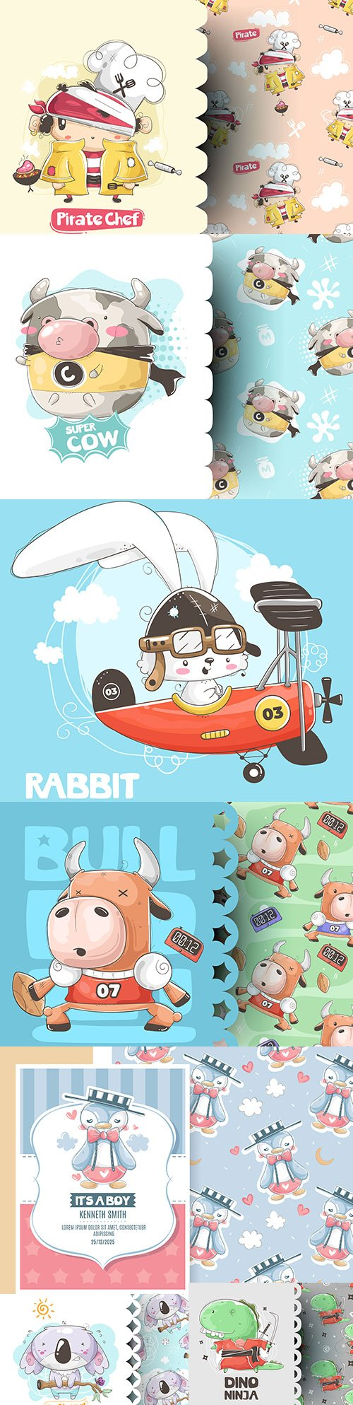 Cute cartoon animals and seamless background 14