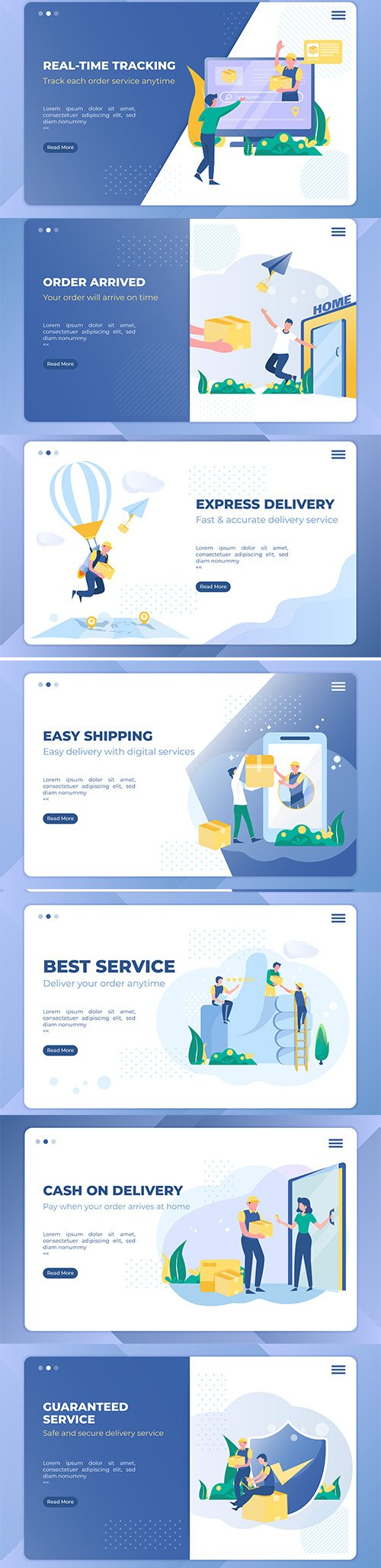 Best Delivery Service Illustration Landing Page Template Set