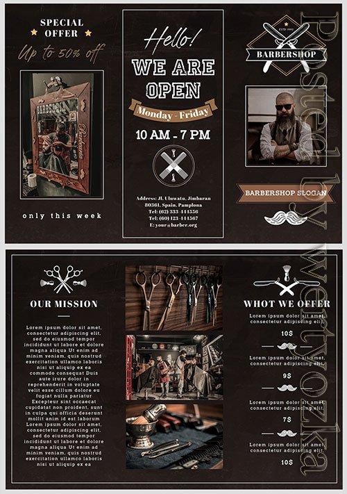 Barbershop Trifold Brochure - Premium flyer psd template