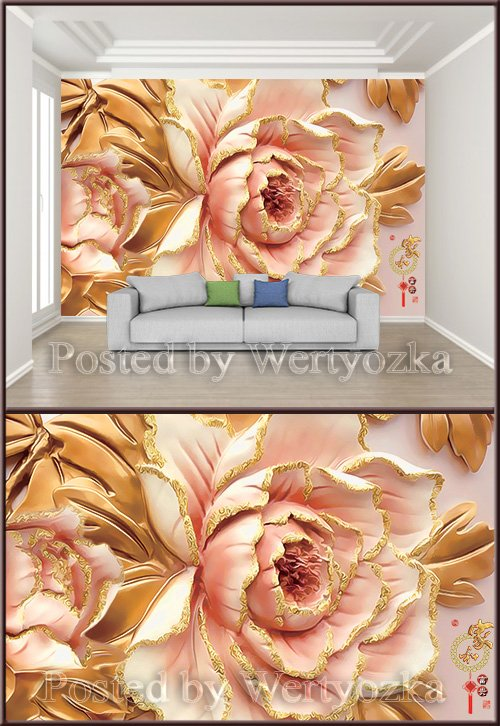 3D psd background wall peony flower luxury