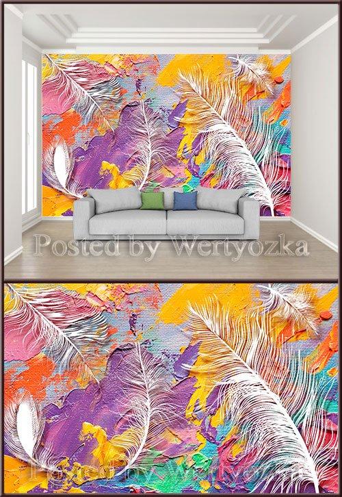 3D psd background wall modern art oil color