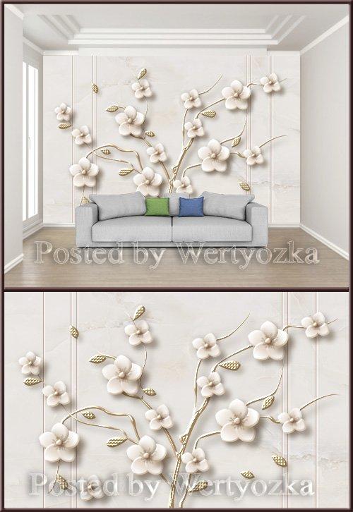 3D psd background wall fashion three dimensional flower