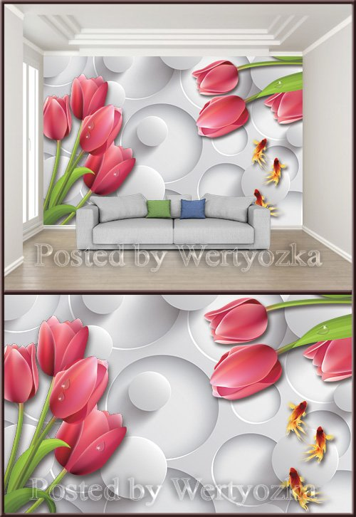 3D psd background wall fashion tulip living room