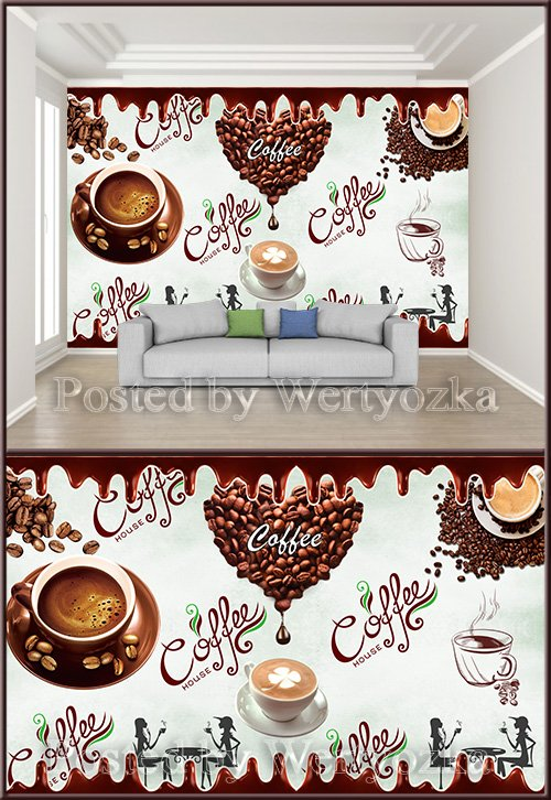 3D psd background wall coffee afternoon tea tooling