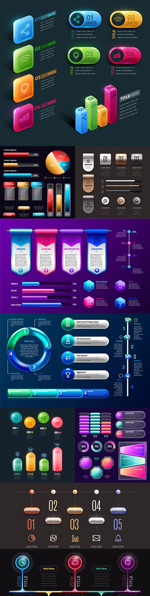 Business infographics 3d glossy design collection 5