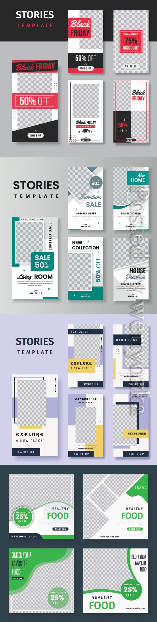 Social media stories vector template