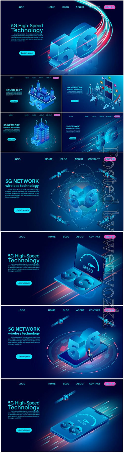 5G network wireless technology high speed isometric flat design vector