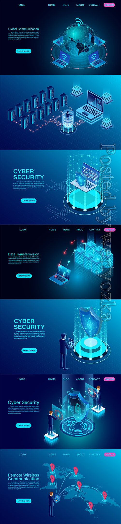 Global communication Internet network around the planet isometric vector