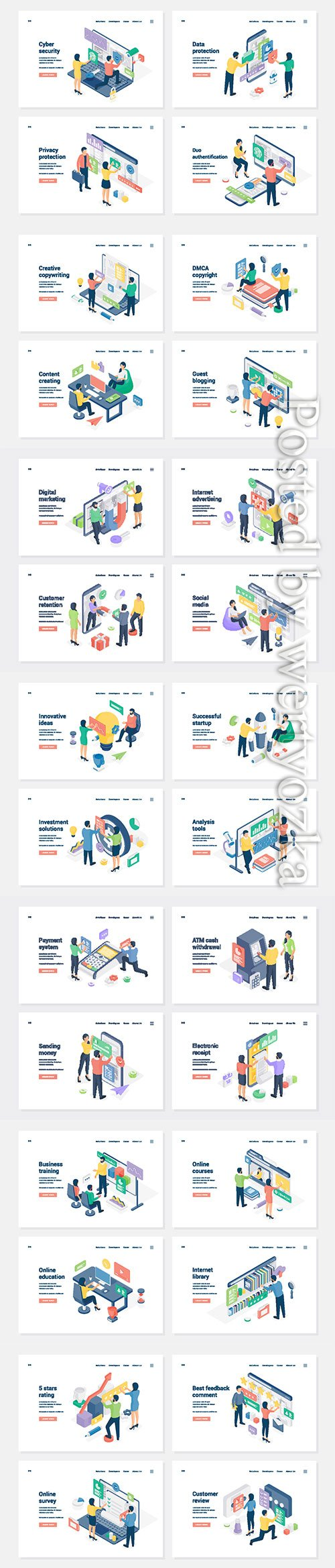 Set of banners with isometric vector illustration # 6