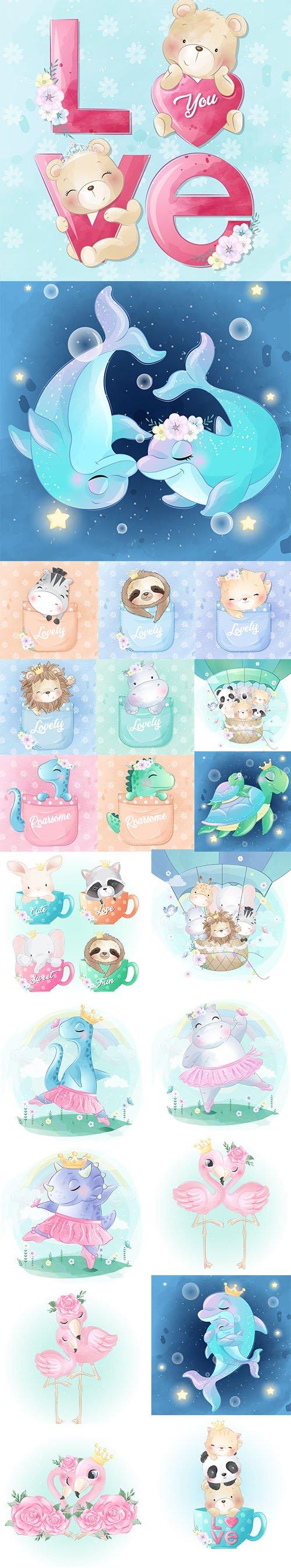 Adorable Little Animals Baby Illustration Set