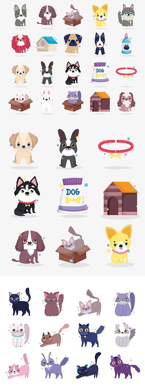 Cute Dogs and Cat Puppy Cartoon Animal Set
