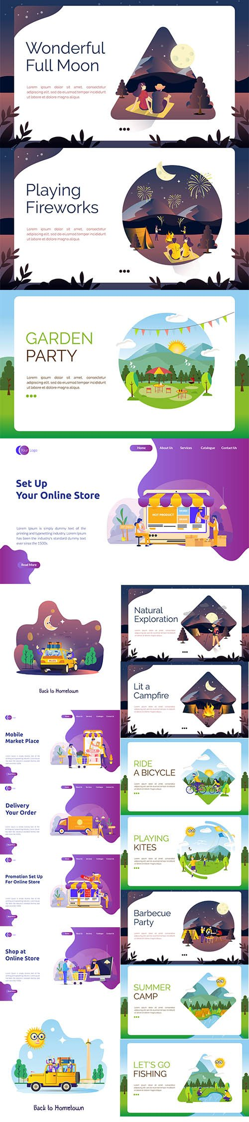 Landing Page Shop Online Store, Full Mood View and Beautiful Nature Flat Illustration