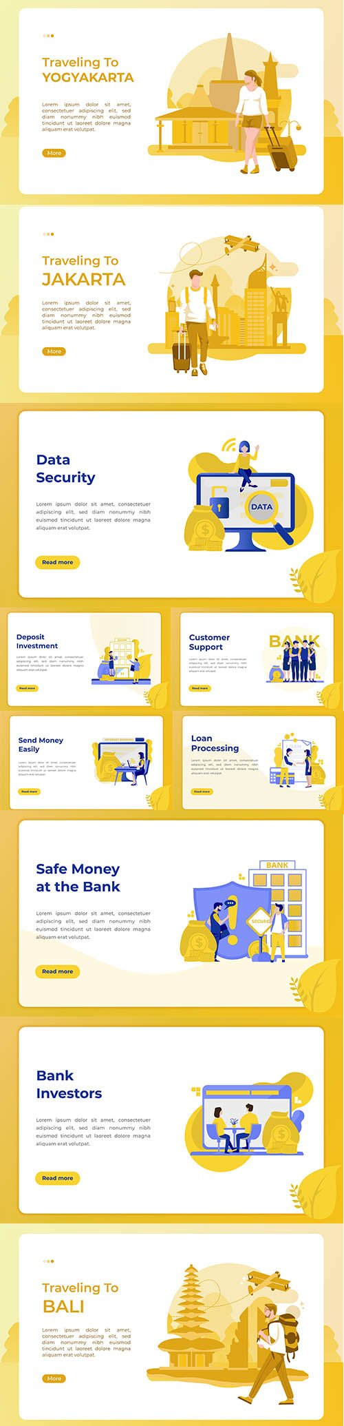 Traveling and Business Flat Landing Page Vector Illustration