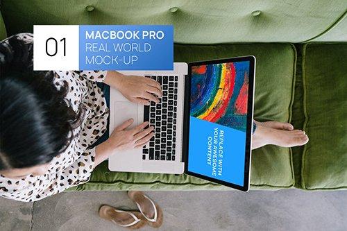 Person using MacBook 15 Retina Real World Mock-up