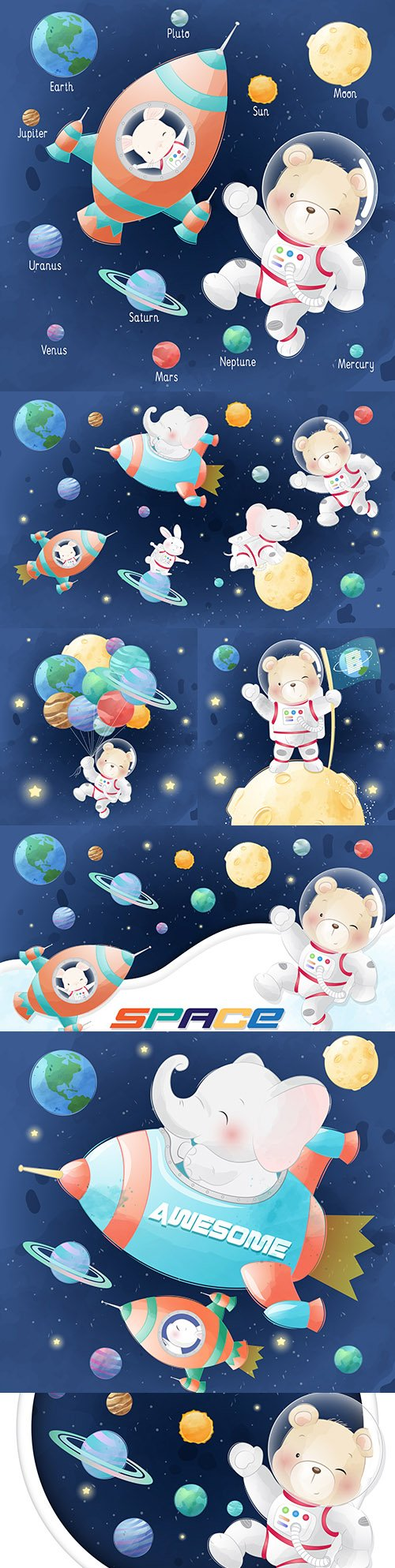 Cute bear and bunny in galaxy with planets