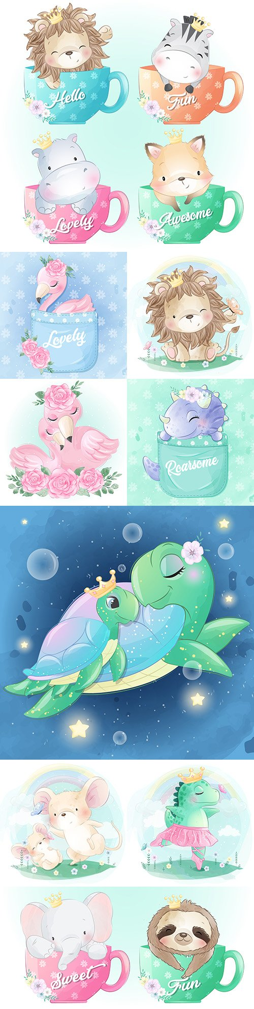Funny animals cartoon watercolor with flowers illustrations 36