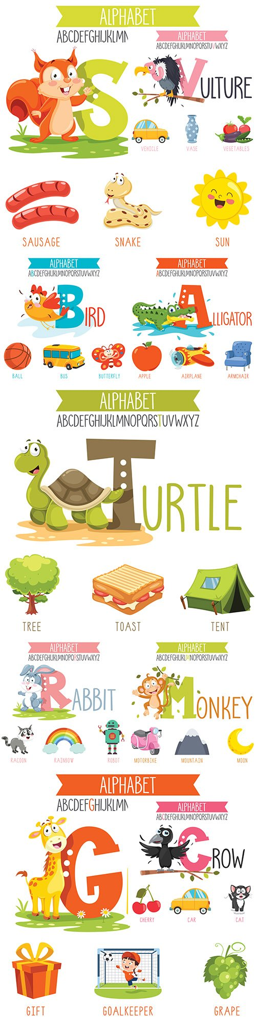 Alphabet letter and illustration animation objects