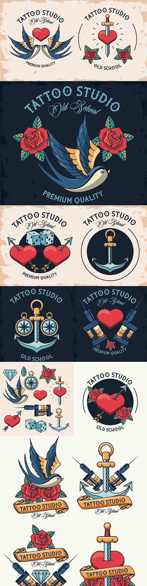 Studio tattoo set design elements and logo