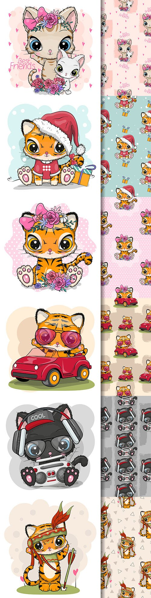 Cute cartoon animals and seamless background 16
