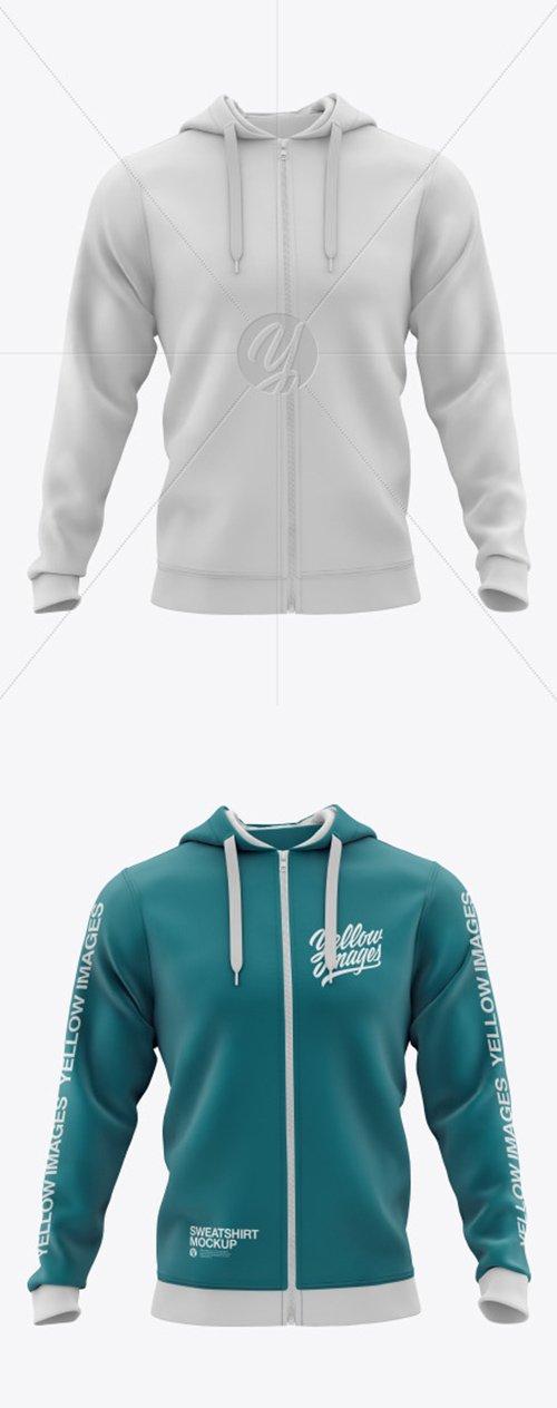 Mens Full-Zip Hooded Sweatshirt Mockup 51605