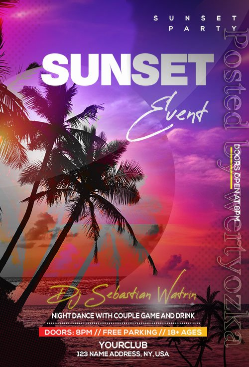 Sunset Event - Premium flyer psd template