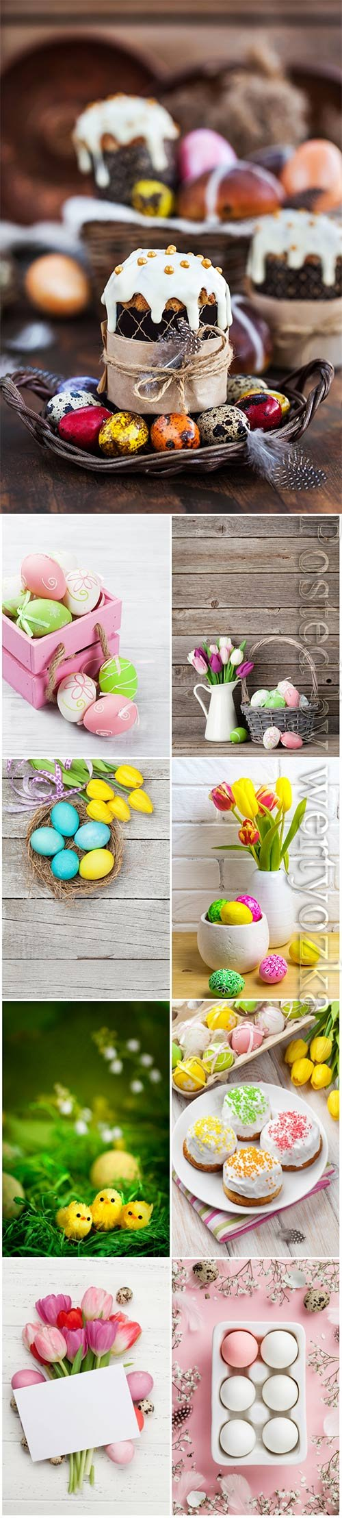 Happy Easter stock photo, Easter eggs, spring flowers # 11