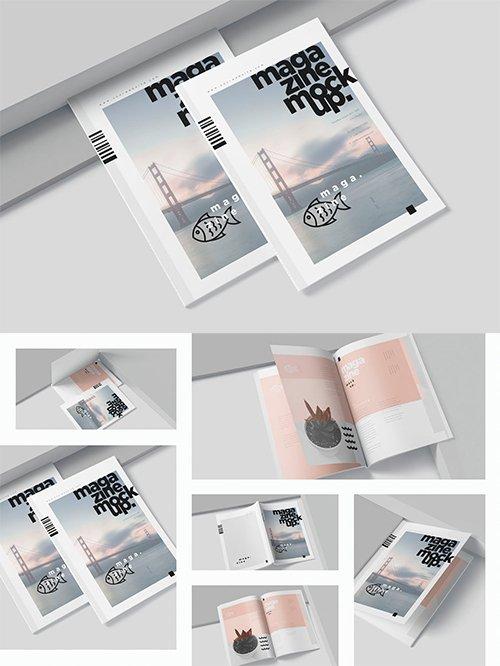 A4 Magazine Cover & Page Spread Mockups