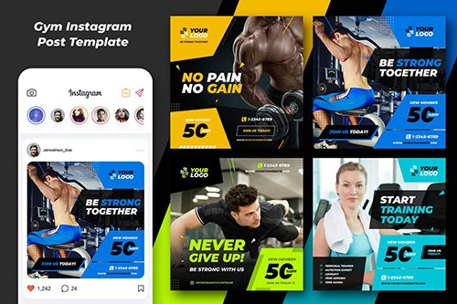 Fitnes Gym Banner and Social Template