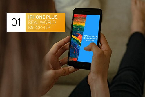 iPhone Plus Woman Hands Real World Mock-up