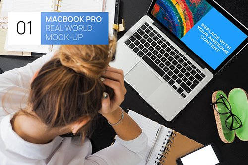 MacBook Pro with Person Real World Mock-up