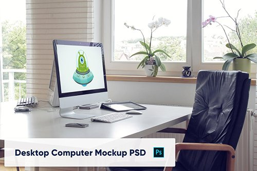 Desktop Computer on Table in Home Office - Mockup 2