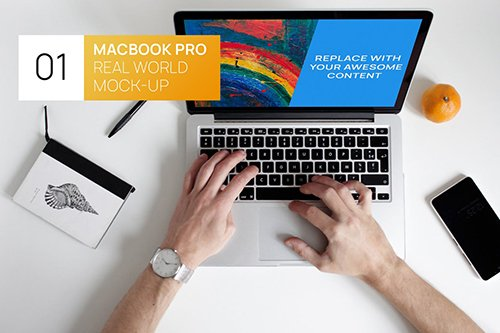 Person Using MacBook 13 Real World Mock-up
