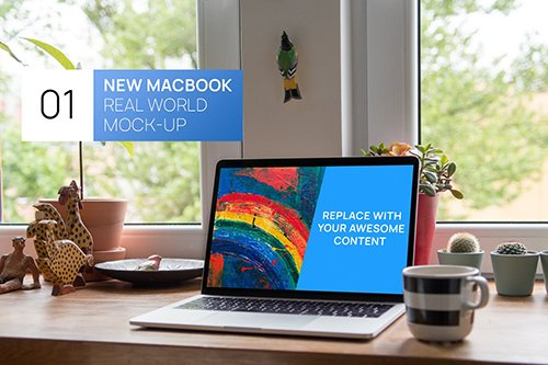 New MacBook 13 Cozy Home Real World Mock-up