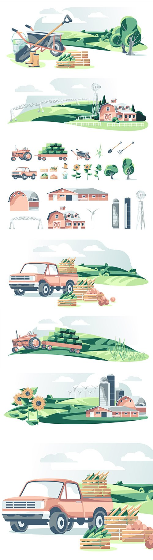 Agricultural equipment and landscape illustration