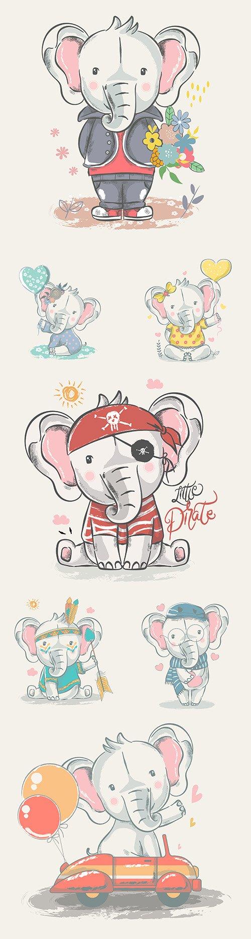 Cute elephant baby cartoon drawn illustrations