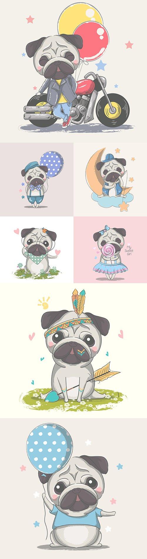 Painted cute little mops cartoon illustration