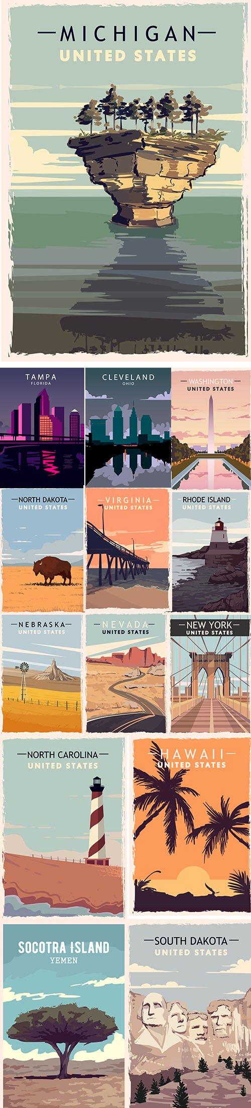 Retro Travel Illustration with Landscape on United States America Set