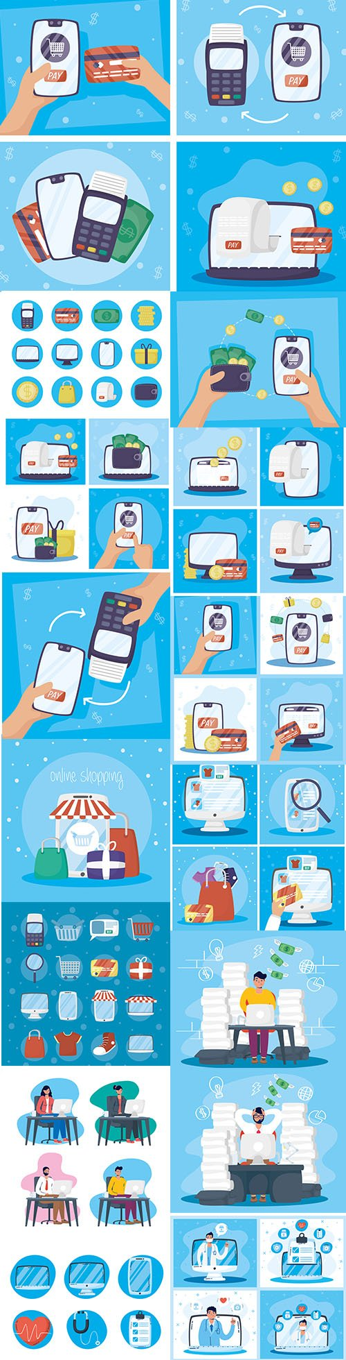 Payments and Health Online Technology with Smartphone Set