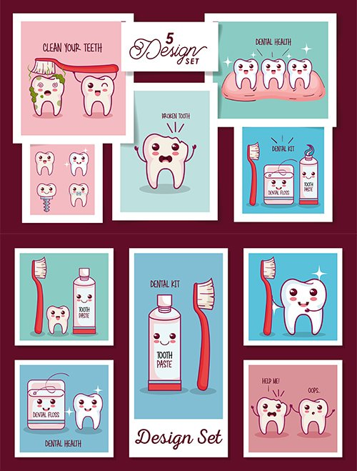 Cards pack of Dental Health Icons