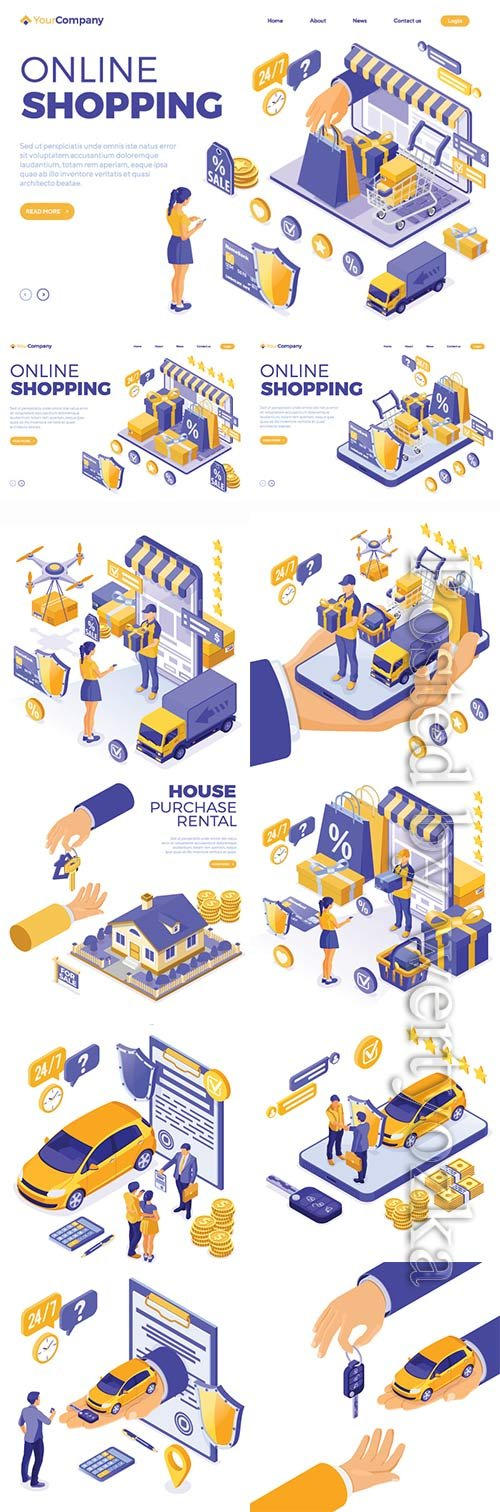 Isometric online internet shopping vector illustration