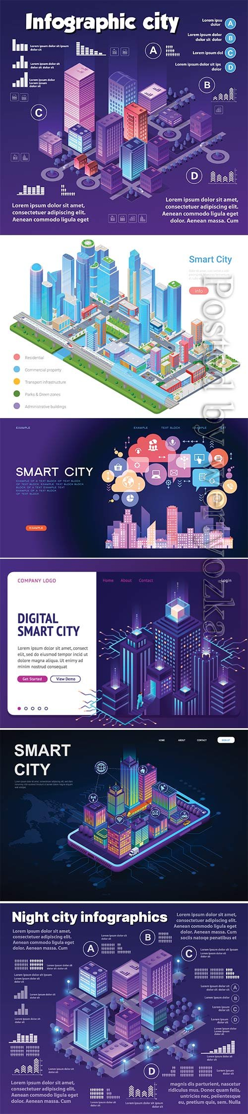 Colorful 3d smart vector city