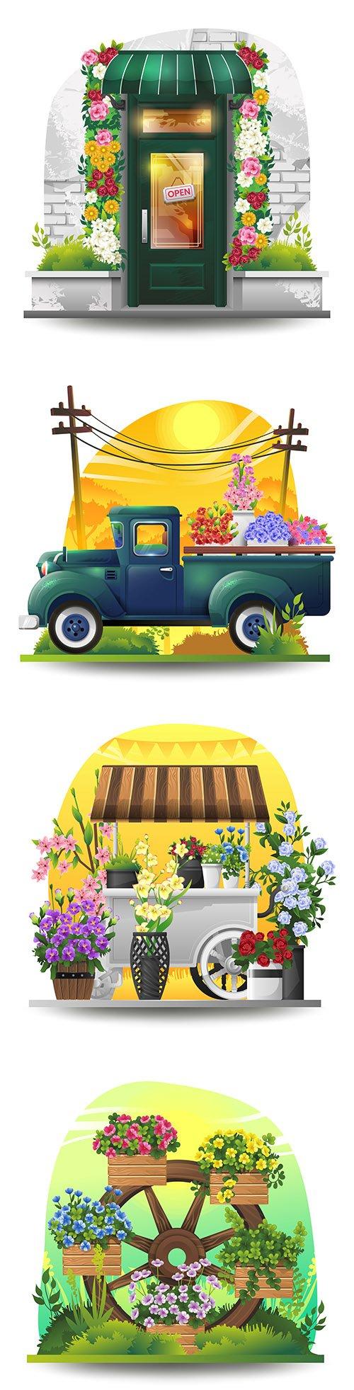 Flower cart with flowers in spring garden illustration