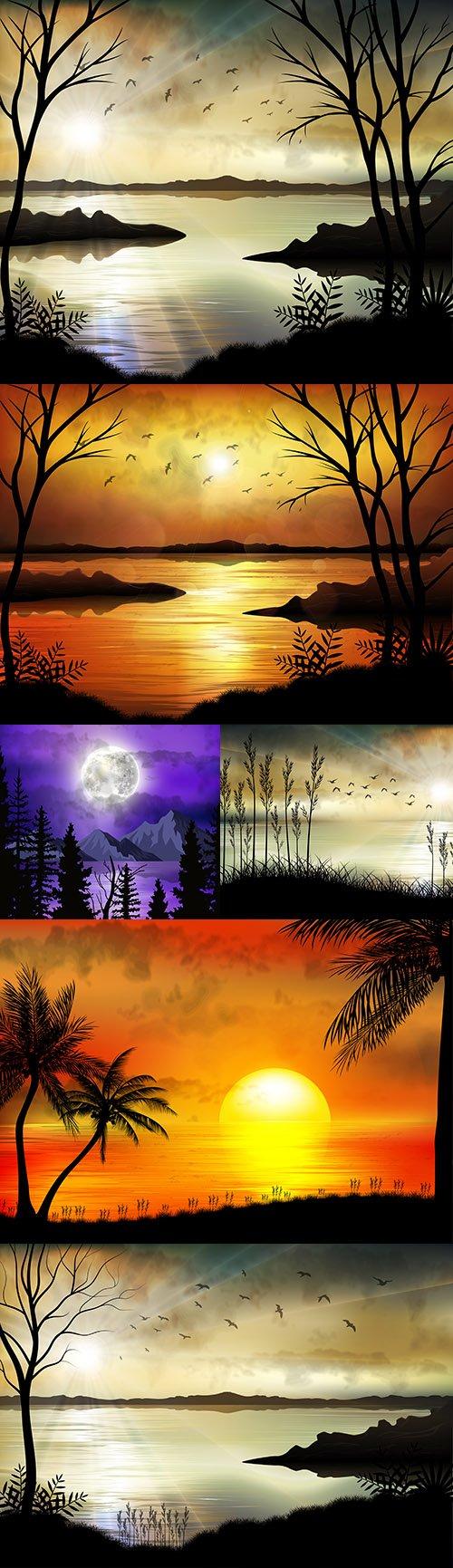 Tropical sunrise on the sea coast beautiful illustrations