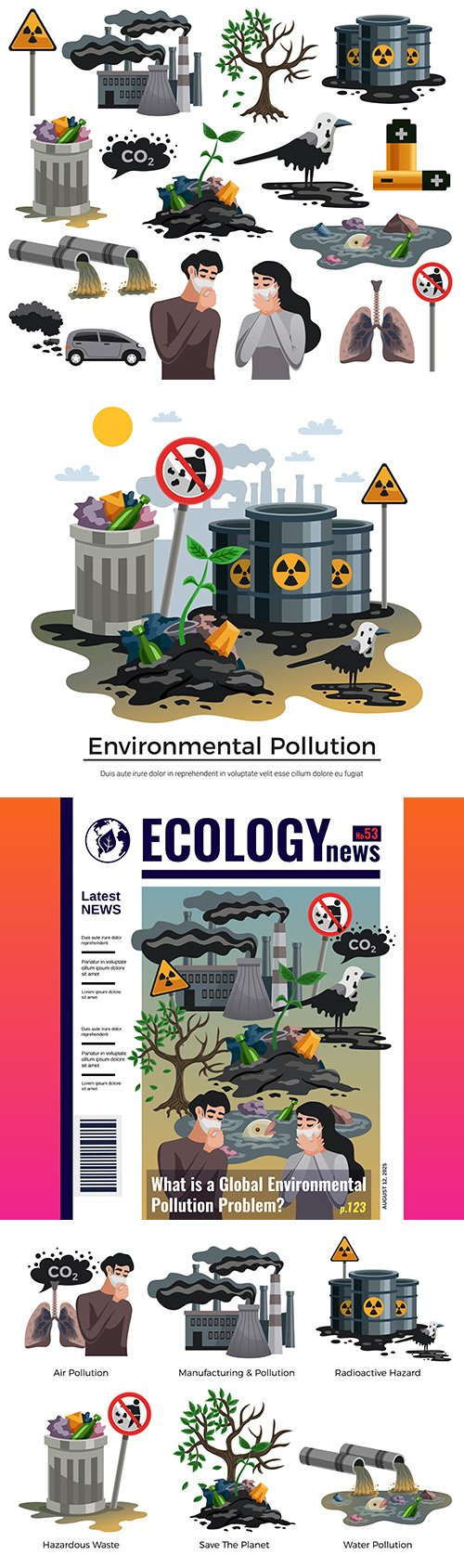 Pollution and environmental disasters illustration
